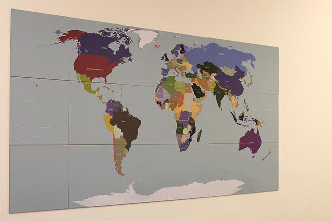 Cork map sticker tiles