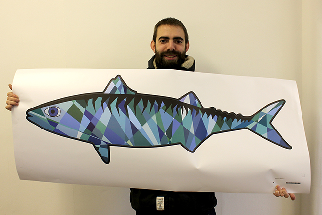 Wall sticker mackerel with fisherman