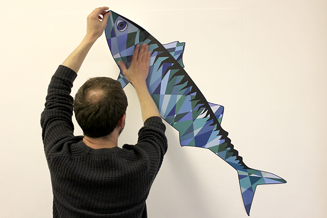 Wall sticker mackerel application