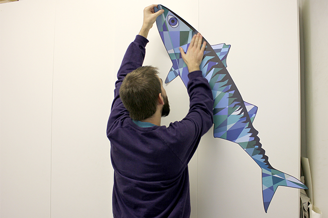 Wall sticker mackerel re-stick