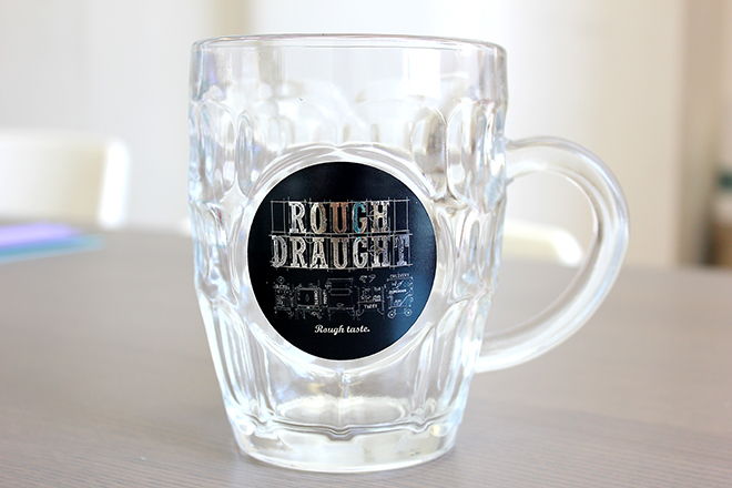 Rough Draught beer glass label sticker
