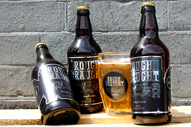 Rough Draught beer and glass label stickers