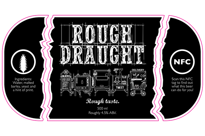 Rough Draught NFC beer label design
