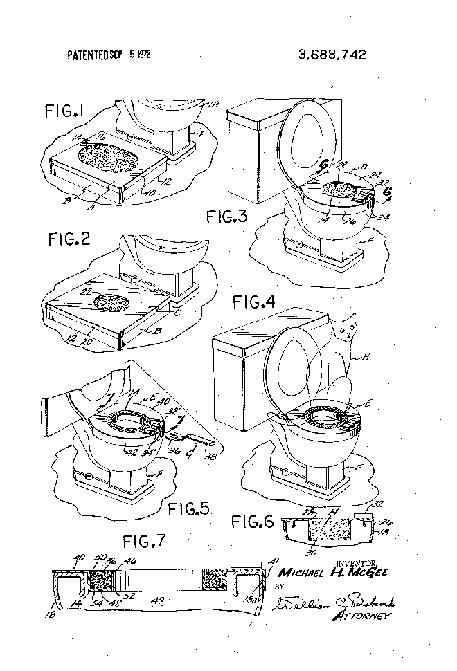 Cat patent illustration – US3688742-1 cat toilet training device