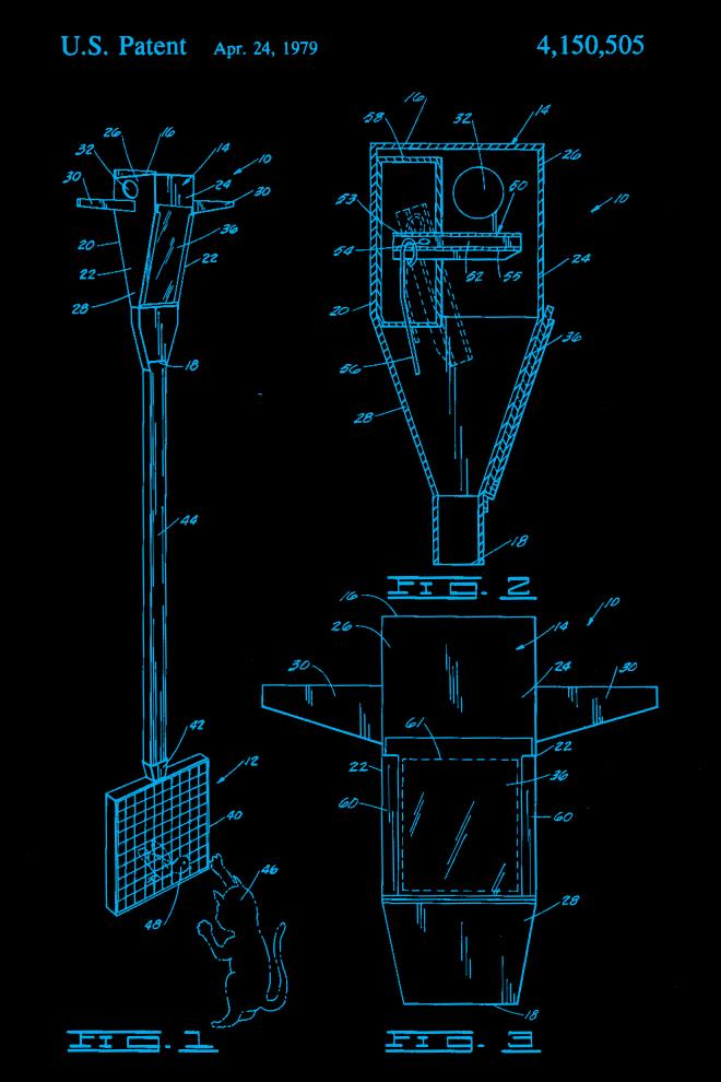 Cat patent print blue US4150505-1