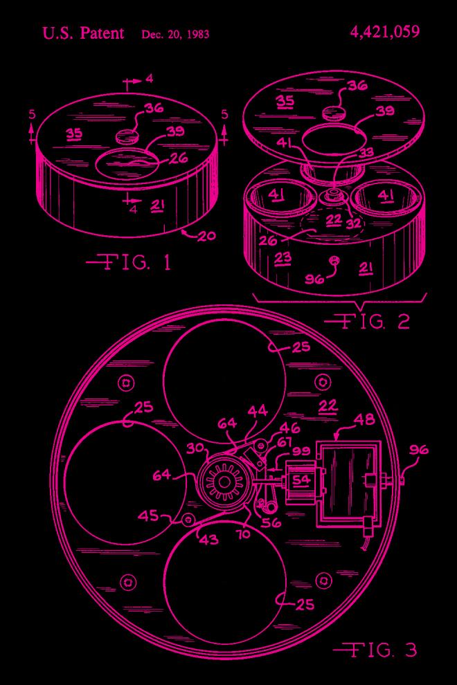 Cat patent print pink – US4421059-1