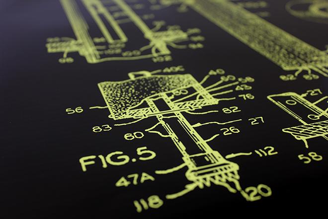 Cat patent print yellow detail