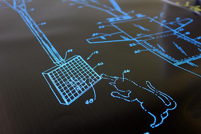 Cat patent print blue detail