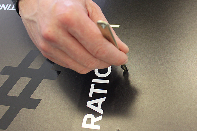 cutting slit in magazine file for fasteners