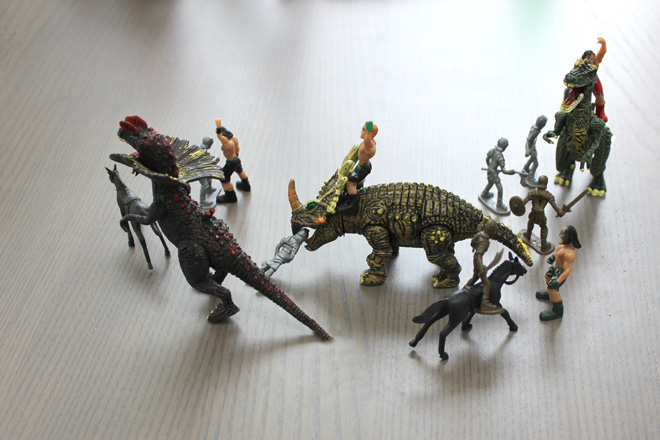 wrestlers dinosaurs and knights