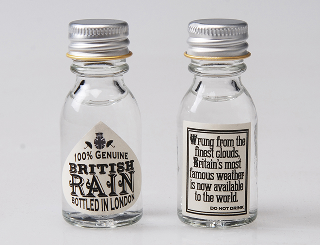 British rain mini bottle label