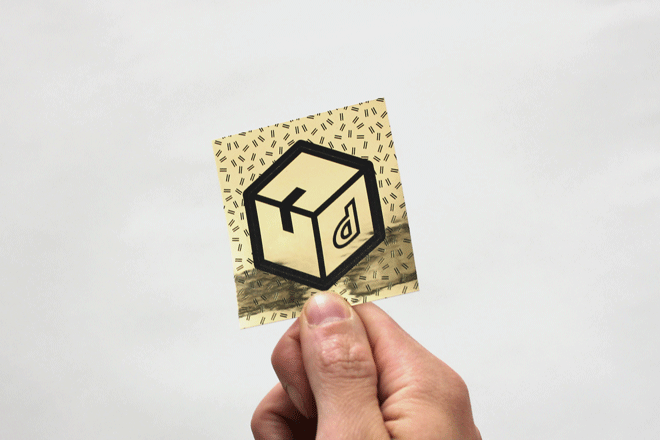 Gold custom hexagon sticker