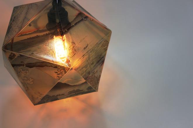 woodblock print light fitting
