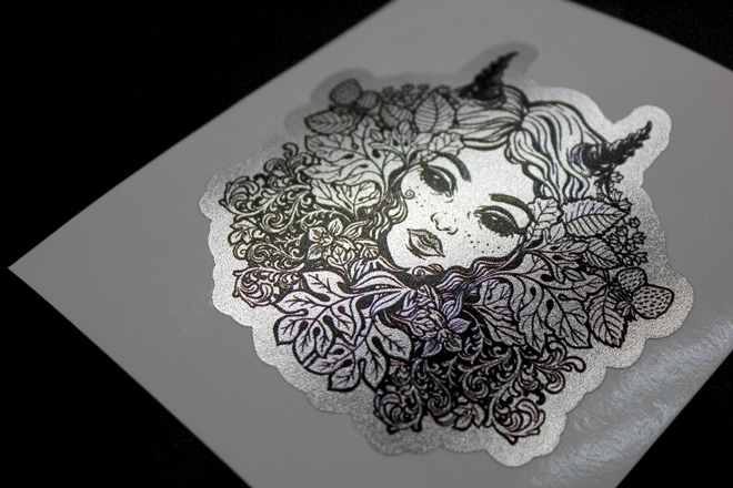Frosted metallic stickers