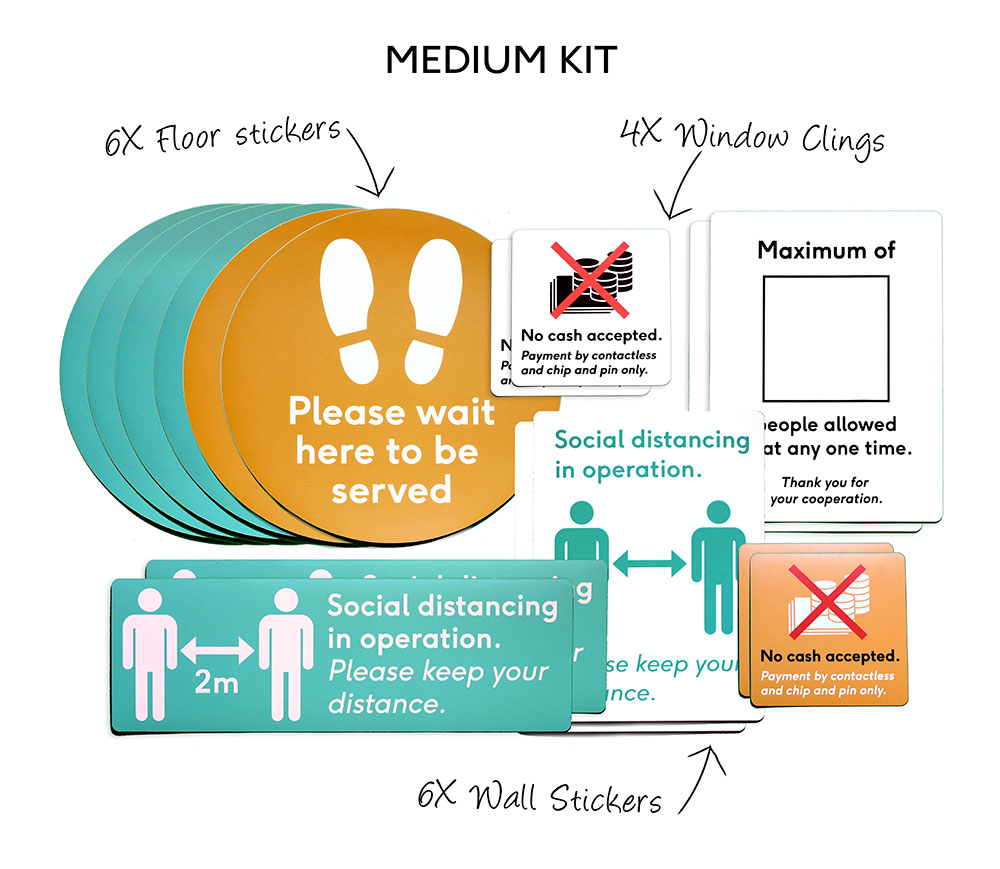 covid-19 retail safety sticker set