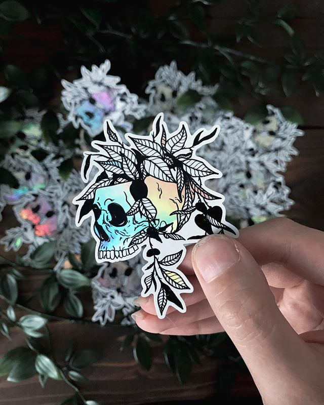 holographic skull sticker prints