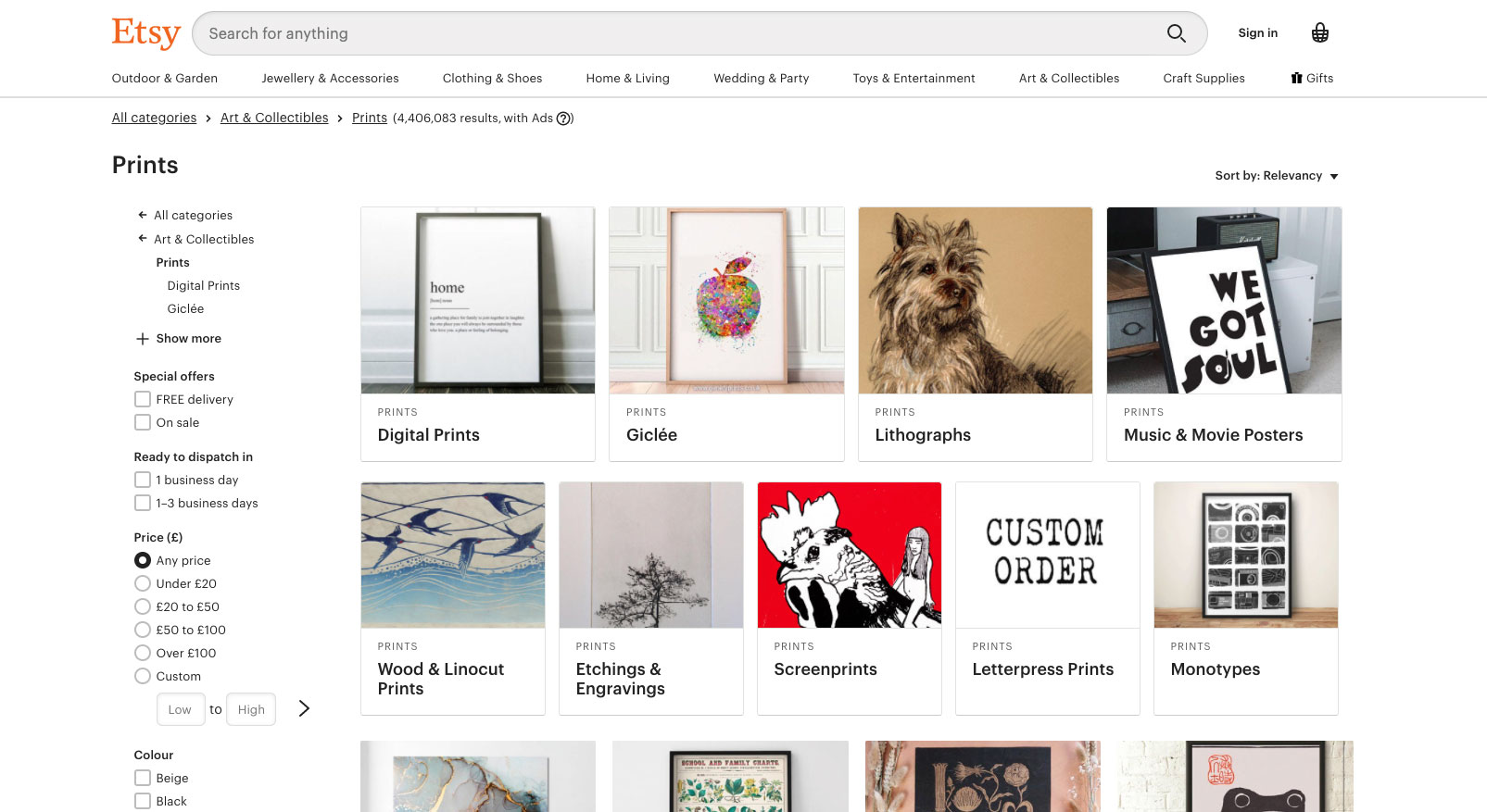 sell posters on etsy